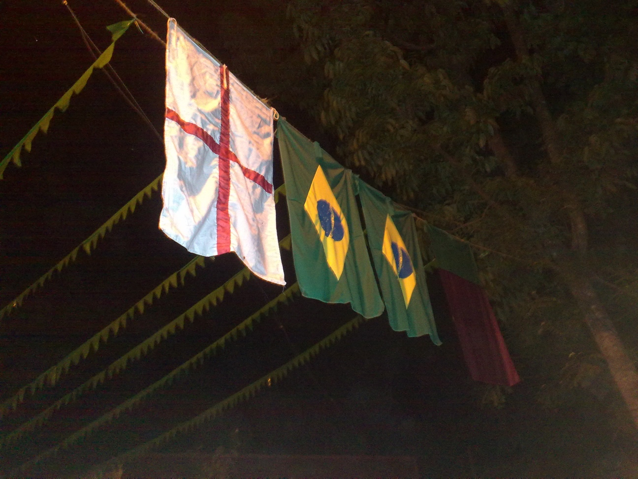 """L to R - Flags of England, Brazil and Portugal"""