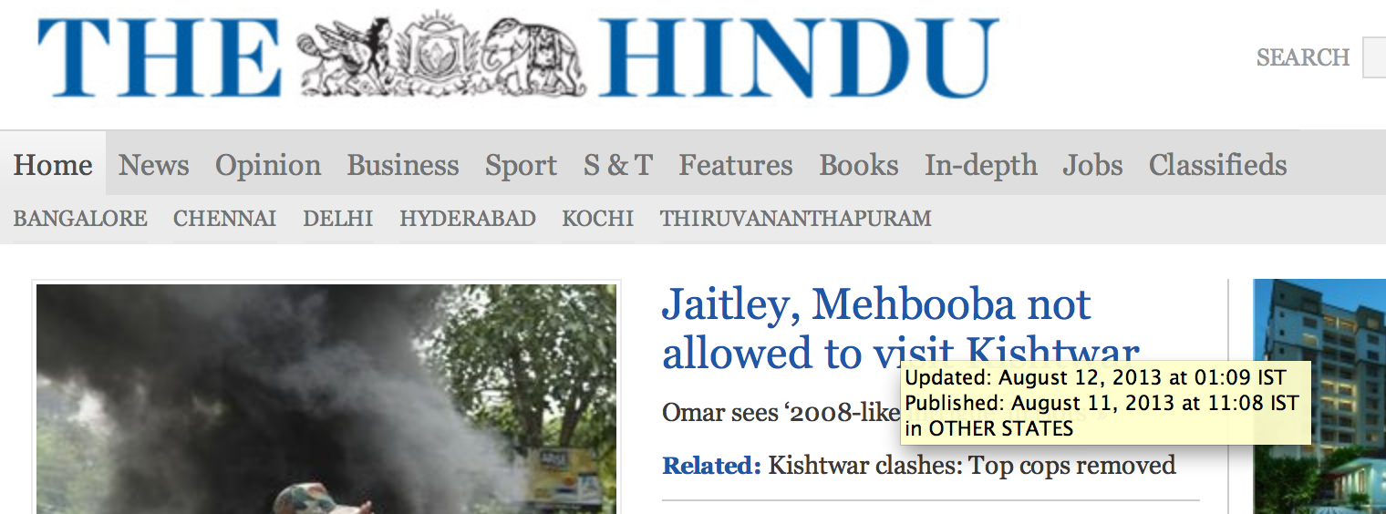 The Hindu adds a title with time stamps of when an article was created and edited